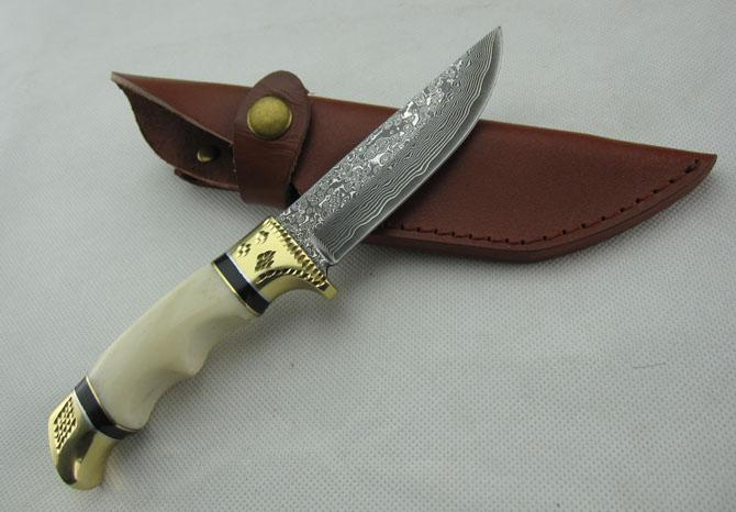 Promotion Damascus straight knife, 58HRC Camel bone + Double Copper head with caiving pattern Handle, Ourdoor survival knife knives