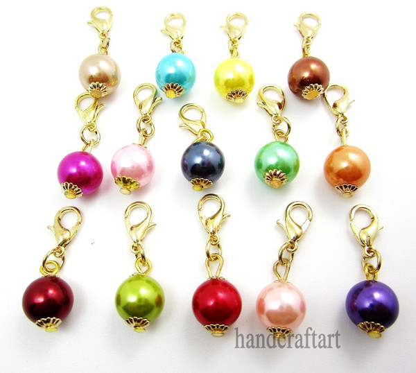 """Fashion Charms 20PCS """"Pearl""""dangles necklace pendants fit floating charm Origami owl locket with Lobster clasp LSFE02*20"""