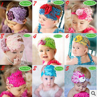 Wholesale Headband Pop - No Profit Pop Baby Feather Children Hair Ribbon Girls Hair Band Headbands Head Belt