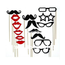 Wholesale Mustache Lips - Free shipping 15 Pcs   Set Photo Booth Props Glasses Mustache Lip on Stick Wedding Party Birthday Fun With Stick and Glue