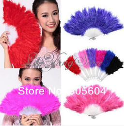 Wholesale Feather Folding Fans - free shipping Chinese Japanese Elegant Folding Feather Hand Fan wedding 7 color plactic hand fan honorable vintage hand fan