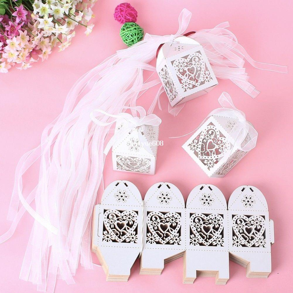 2018 New Love Heart Laser Cut Candy Gift Boxes With Ribbon Wedding ...