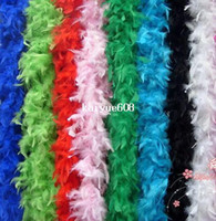Wholesale Boa Scarves - Free shipping 20Pcs lot 200cm Chicken Feather Strip Wedding Marabou Feather Boa Scarf 14 Colors