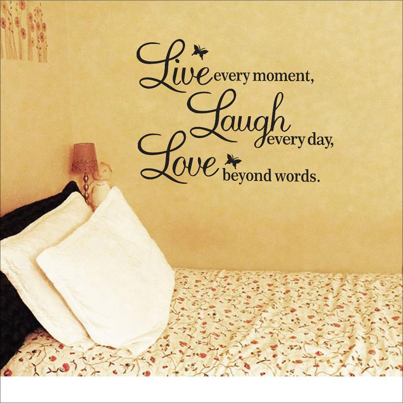 Live Laugh Love Wall Decals Quotes Paper Butterfly Decoration Wall ...