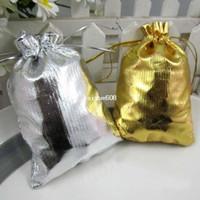Wholesale Gold Drawstring Organza Bag - Free Shipping Wholesale 100Pcs Gold & Silver 9x12cm Drawstring Organza Pouch Jewelry Bag Christmas Wedding Gift Bag