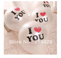 """Wholesale Inflator For Balloons - 100pcs bag with free Inflator Ballon set """"I LOVE YOU"""" White Pear Ball Balloon of color printing for wedding and propose marriage"""