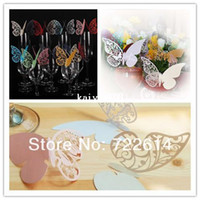 Wholesale Butterfly Name Place Cards - 100x Butterfly Name Place Card Cup Paper Card Table Mark Wine Glass Wedding Favors Party Decor