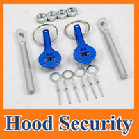 Wholesale Car Hood Pin Locks - Universal Racing Car Bonnet hood pin pins Lock Locking kits Aluminum Blue new