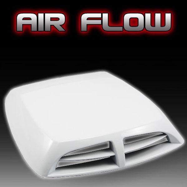 Envío gratis Universal White Car decorativo Air Flow Intike Scoop Turbo Bonnet Cubierta de Ventilación capó pegatinas del coche