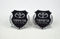 Wholesale Toyota Accessories Free Shipping - 2 pcs silvery car emblem sticker TOYOTA metal decorate accessories Side emblems free shipping Silver golden