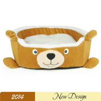 Wholesale Unique Dog Beds Winter Cartoon Bear Pet Dog Kennels Warm And Comfortable Pet Beds PP Cotton Padded Blue Pet Dog House