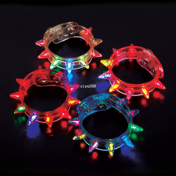 Flashing LED Multi-Colored Spike Bracelet Party Favor Light Up Jewelry # 2218