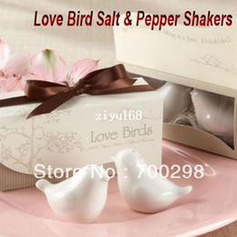 "Wholesale Love Birds Salt - 100pairs lot ""Love Birds in the Window"" Salt & Pepper Ceramic Shakers,Wedding Party Favor,Free Shipping"