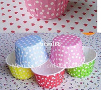 Wholesale Base For Cupcakes - 750pcs Polka Dot 5-color Cupcake Liners Baking Paper Cups For Cupcake Muffin Cake Case Base 50mm Wedding Decoration Free Shiping