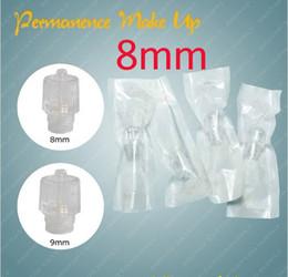 Wholesale Permanent Makeup Tubes - 100x 8mm Permanent Makeup Disposable Pen Machine Heads Tubes Cosmetic Kits Supply