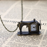Wholesale Sewing Machine Watch - Antique vintage style pocket watch with carved sewing machines designs
