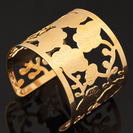 Wholesale Hollow Cuff Bracelet - Vintage Hollow Flowers Scroll 18K Real Gold Plated Cuff Bracelets Cubic Zirconia High Quality Bangles Gift For Women MGC H5169