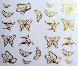 Wholesale Butterfly French - Wholesale-New 3D Nail Art Stickers Decal Gold Butterfly Metallic Design Decoration French Manicure Stamping Foils Tools