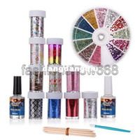 Wholesale Kits Sticks Nail Art - Wholesale-Free Shipping 10 Rolls New Nail Art Transfer Foils Glitter Adhesive Acrylic Gel System Tips Top Coat Stick Set Nails DIY Kit