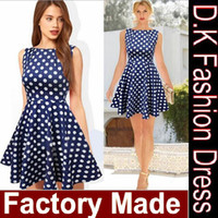 Wholesale Party Dress Manufacturers - Manufacturer Dark Blue Spring 2015 New Summer Casual Dress Women Sleeveless Elegant Party Vintage Polka Dot Dresses Plus Size free shipping