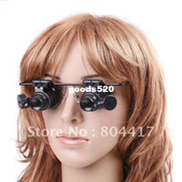 Wholesale 20X Magnifier Magnifying Eye Glasses Loupe Lens Jeweler Watch Repair LED Light
