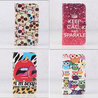 Wholesale Galaxy S3 Cartoons Flip Cover - cartoon wallet credit card slots Owl keep calm floral design stand flip leather case cover skin shell for Samsung Galaxy S3 Mini i8190 CASE