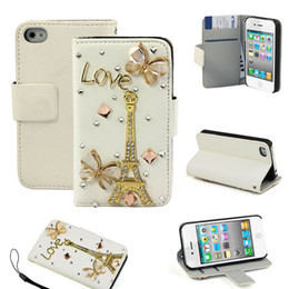Wholesale Iphone 4s Bling Butterfly - Flip Fashion Leather Case Butterfly Eiffel Pylon Bling Cover For iPhone 4 4G 4S Freeshipping &Wholesale