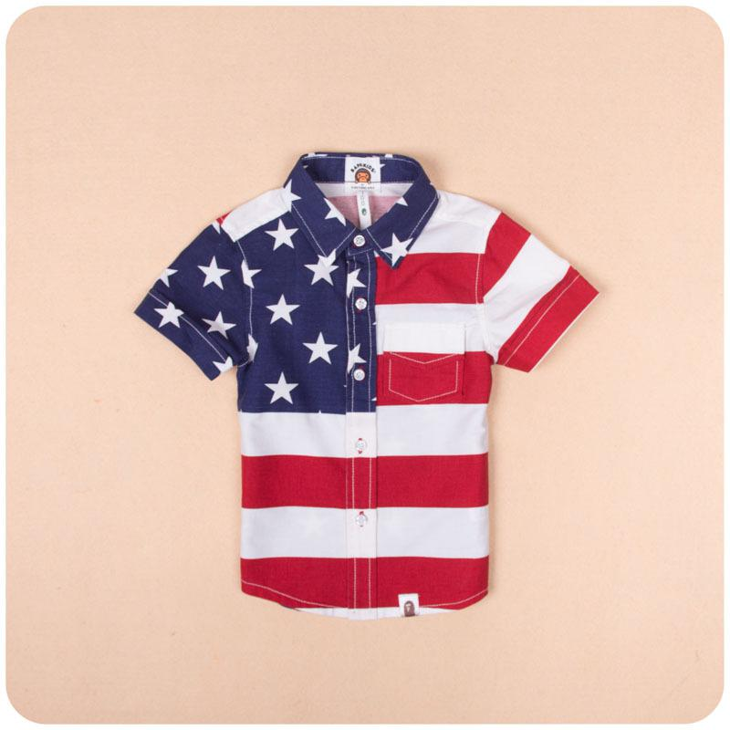 2014 summer USA Flag pure cotton children clothing American star and stripe for baby boy kids clothes polo t shirt outwear