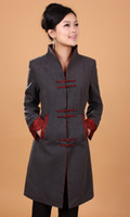 Wholesale Women Chinese Clothing Free Shipping - Free Shipping 2015 new arrival Top Quality Winter Long Overcoat Chinese Women's Cashmere Jacket chinese traditional clothing 2 color 2987