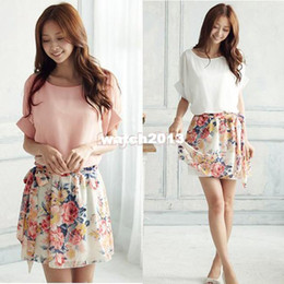 Wholesale Casual Wear For Women Shorts - Wholesale,2014 New Hot Sale Women Dress for Summer wear Sweet Casual Short Sleeve Batwing Floral Chiffon Mini Dress,white pink 14510