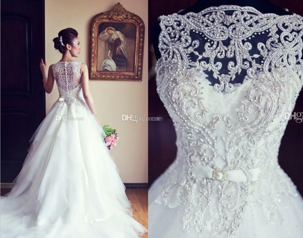 Discount 2015 A Line Wedding Dress With Sheer Straps Buttons Back ...