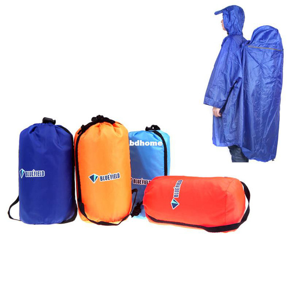 Wholesale-NEW 4 Colors BlueField Backpack Cover One-piece Raincoat Poncho Rain Cape Outdoor Hiking Camping Unisex Reddish-orange