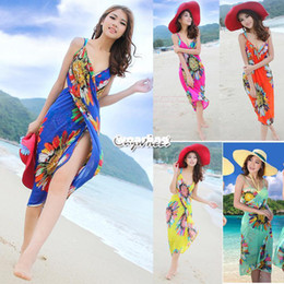 Wholesale Red Sarong Wrap - Wholesale-2014 Summer Women Saia Casual Dresses Deep V Wrap Chiffon Swimwear Bikini Cover Up Sarong Bohemian Sexy Beach Dress SV001144#006