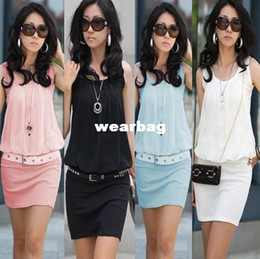 Wholesale Wholesale Women S Tunics - Wholesale-Dropshipping!New 2014 Summer Women Mini Dress Lady Crew Chiffon Sleeveless Causal Tunic Plus Size M L XL Women Clothes FF119