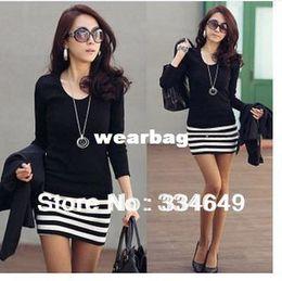 Wholesale Ol Dress Wholesale - Wholesale-2015 Long Sleeve Dresses Sexy striped patchwork dress Korean fashion Slim Sexy striped mini OL dress free shipping #5339