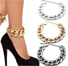 Wholesale Chunky Chain Anklet - 1 Pc Curb Chunky Chain Anklet Bracelet Bangle Foot Barefoot Sandal Beach