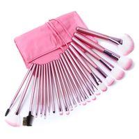 Wholesale 22pcs Makeup Brushes - FREE SHIPPING! Best Quality Professional Pink Makeup Brush Set 22PCS Set Including a Pu Leather Bag!