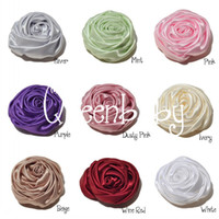 Wholesale Mini Rosette Bows Wholesale - Trail Order Mini Satin Rosette Flower in 9 Colors - 2 Inch for Headband Hair Accessories Photography Props 50pcs lot QueenBaby