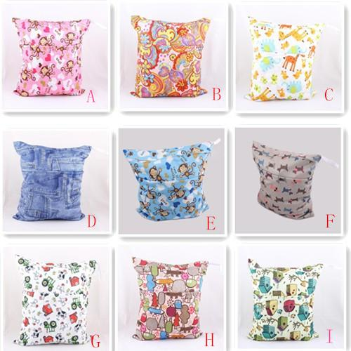 2014 New Design Printing Diaper wet bag colorful Zippered Reusable Waterproof baby Cloth Diaper Wet Dry Bag