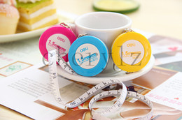 Wholesale Stainless Steel Tape Measures - MINI Tape Measure Plastic Keychain Key Ring Color Yellow Hot Pink Sewing Tailor Dieting Measuring Ruler BB191