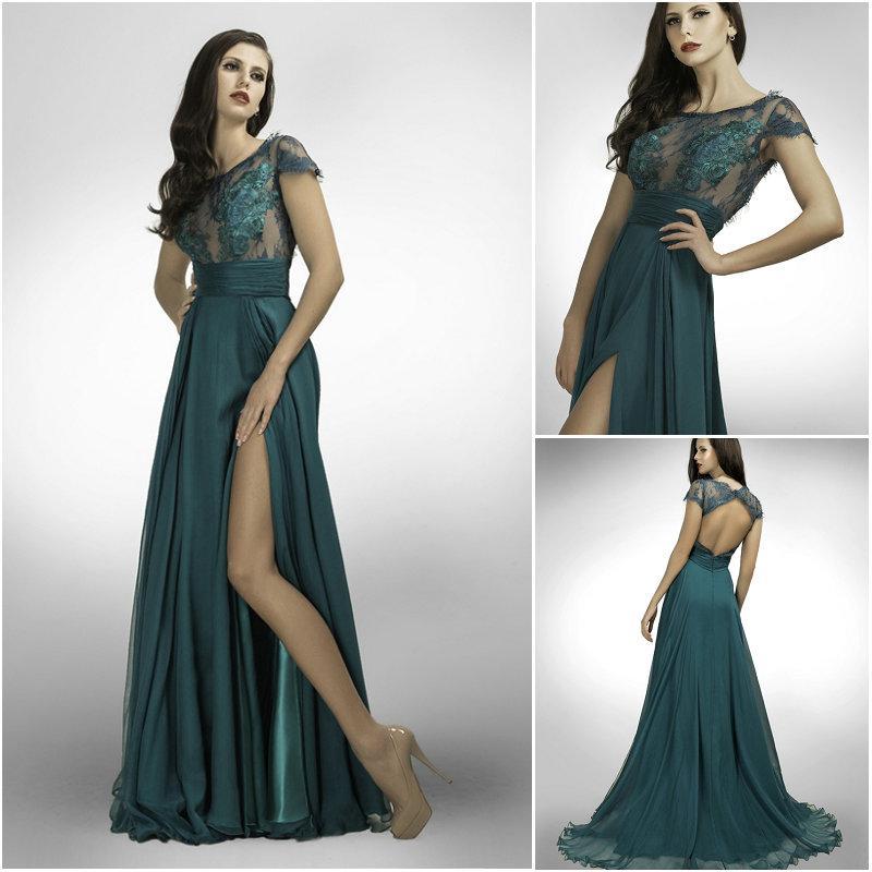2014 Sexy Dark Teal Evening Dresses Bien Savvy Chiffon Jewel Neck