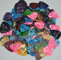 Wholesale Wholesale Celluloid Guitar Picks - Lots of 100 pcs Thin 0.46mm Printed guitar picks Plectrums Celluloid Assorted Colors