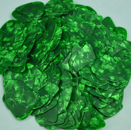 Wholesale Guitar Picks Blank - Lots of 100 pcs Thin 0.46mm Blank guitar picks Plectrums Celluloid Pearl Green
