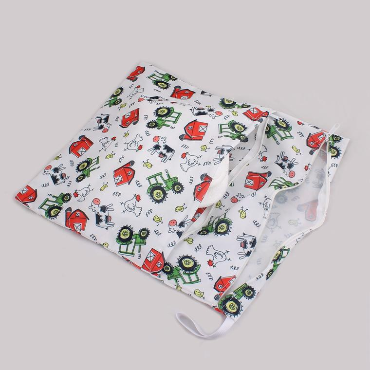 Baby Waterproof Zippered Wet/Dry Diaper Bag - Owl Wet and Dry Cloth Diaper Bags Wet Swimsuit Bag Animal Printed by Melee WetBag 33*28cm