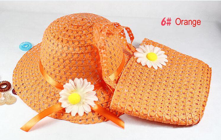 러블리 꽃 어린이 햇빛 아이 소녀 캐주얼 어린이 해변 태양 밀짚 모자 모자 + 짚으로 올려 놓 핸드백 가방 세트 맞게 1-6 년 어린이