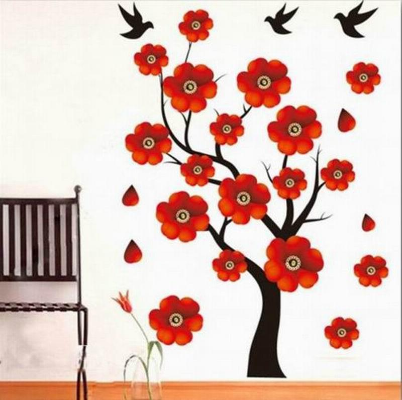 Fashion New Home Decorative Mural Decal Art Vinyl Wall Sticker Red - Wall decals in pakistanblack flowers removable wall stickers wall decals mural home art
