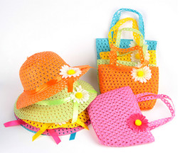 Wholesale Coloured Straws - Fashion Summer Sun Hat Girls Kids Beach Hats Bags Flower Straw Hat Cap Tote Handbag Bag Suit fit 1-6 Years child 9 Colours Free shipping