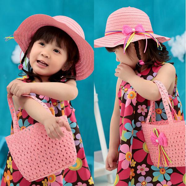 best selling Lovely Flower Children sunhat Kids Girl Casual Children Beach Sun Straw Hat Cap + Straw Tote Handbag Bag Set fit 1-6 Years child