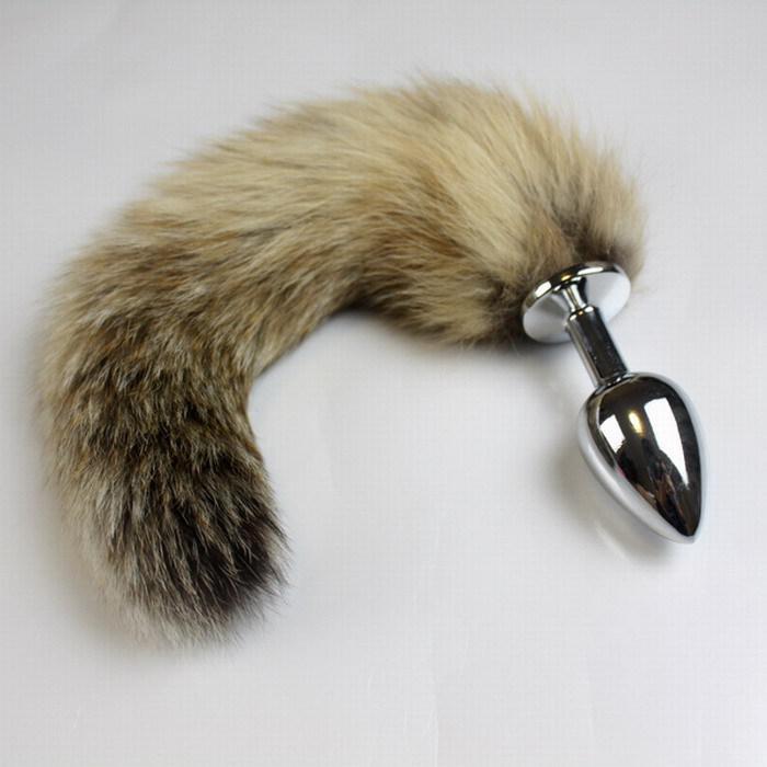 Sexig Fox Tail Anal Plug, Metall Rostfritt Stål Mjuk Stimulerande Butt Plug Med Möjlig Sväska Sexiga Leksaker För Kvinna Av DHL /