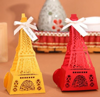 Wholesale Eiffel Tower Boxes - 50pcs High-grade Hollow style Candy Box Eiffel Tower Wedding Favors Boxes Free shipping